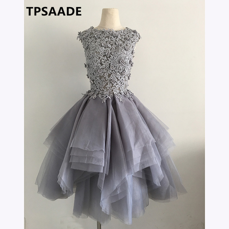 Elegant grey Robe De Soiree Short Evening Dress 2017 Tulle Lace Appliqued Sleeveless Abiye Prom Party Gown dresses with crystals
