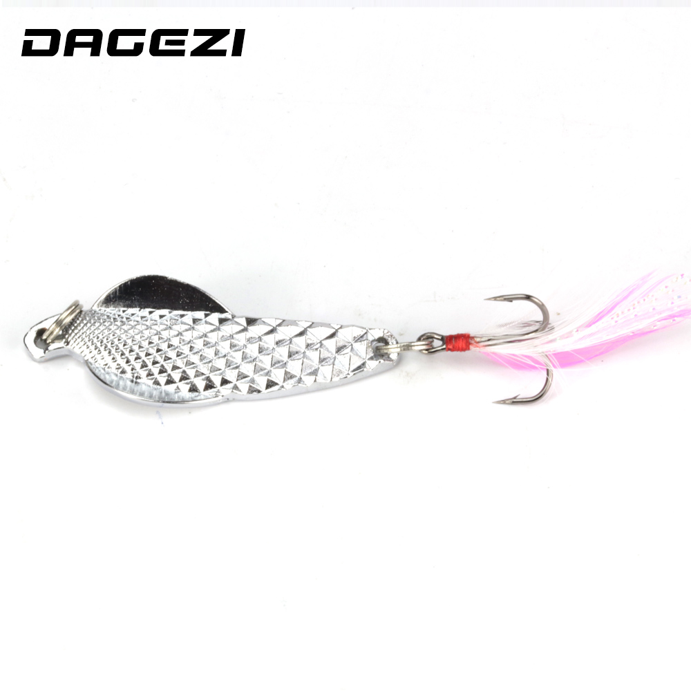 DAGEZI Metal Sequins Fishing Lure Spoon Lure Noise Paillette Hard Baits with Feather Treble Hook Pesca Fishing Tackle fish king 1 pc 24g fishing lure spoon lure noise sequin paillette carp hard fishing baits with 4 mustad treble hook lure