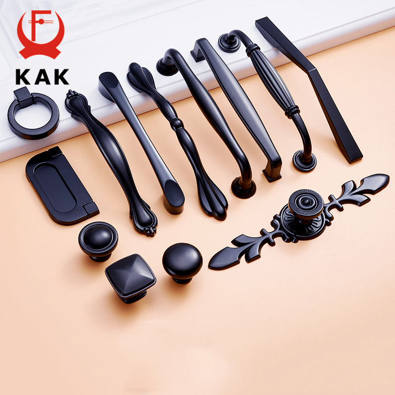 KAK Zinc Aolly Black Cabinet Handles American style Kitchen Cupboard Door Pulls Drawer Knobs Fashion Furniture Handle Hardware kak 96mm aluminum handles kitchen door cupboard modern wardrobe handle drawer pulls cabinet knobs with screw furniture hardware