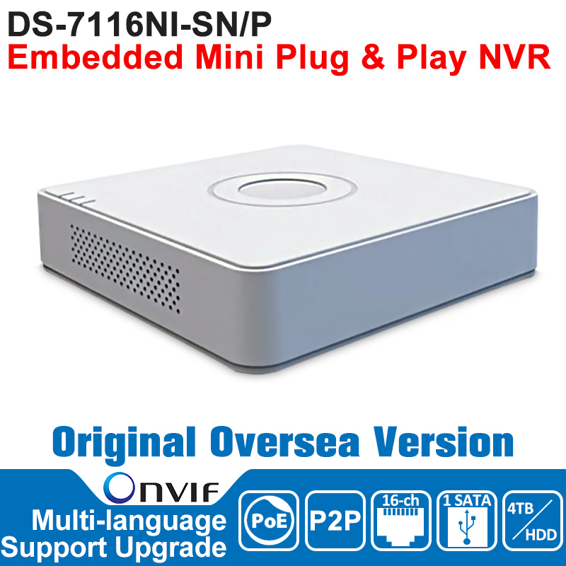 HIKVISION  NVR 16CH POE IP Camera Network Video Recorder DS-7116NI-SN/P 16CH NVR POE 1 SATA Embedded Mini Plug and Play NVR original english version nvr ds 7104ni sn p 4ch mini nvr 4ch poe network video recorder hd 1080p nvr work well with h 265 ipc