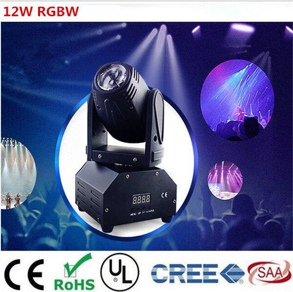 12 Вт перемещающаяся головка DMX512 луч света Светодиодные пятно Освещение DJ Показать диско лазерный свет RGBW 4IN1 LED