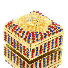 1.7*1.1IN Metal Square Box With DIY Crystal Trinket Box Earring Ring Jewelry  Storage Case Crafts Birthday Gift Souvenirs Decor