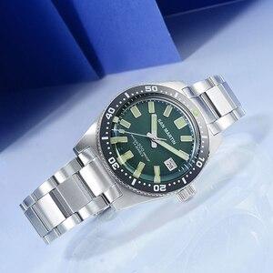 Image 4 - 산 마틴 62mas 남자 자동 시계 200m 방수 12 빛나는 베젤 스테인레스 스틸 스트랩 남성용 다이빙 손목 시계