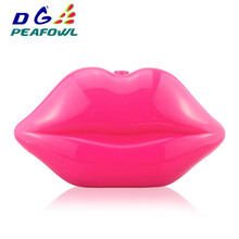 Hot sales Sexy Lip Acrylic Clutch Bag with Gold Chain Designer Luxury Handbag Crossbody Bag for Women Party Evening Clutch Purse red trunk clutch bag fashion brand diamond relief acrylic ballot lock luxury handbag evening bag clutch party purse shoulder bag