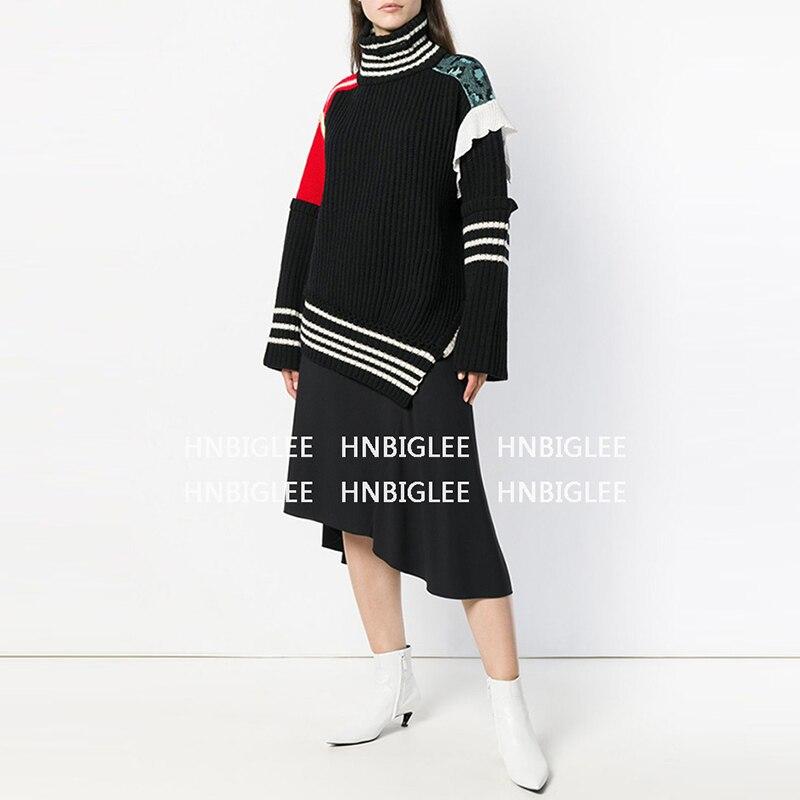 Col Couture Nouveau Mode En Les Multi Ziwwshaoyueurope Pull Laine D'hiver Irrégulière unis Roulé De Décontracté Chandail États Automne Et x6YAqzwB