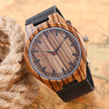 Casual Handmade Nature Wood Bamboo Creative Men Women Genuine Leather Band Strap Analog Wrist Watch Festival Memorial Day Gift