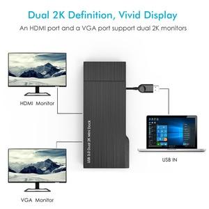 Image 2 - Full HD 2K комбинированная мини Док станция, USB 3,0 концентратор, устройство для чтения SD карт, гигабитный Ethernet хаб, мульти дисплей, HDMI/VGA, для Mac Window