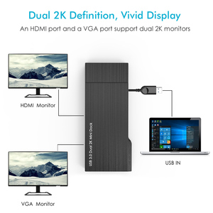 Image 2 - מלא HD הכפול 2K קומבו מיני עגינה תחנת USB 3.0 רכזת SD כרטיס קורא Gigabit Ethernet רכזת רב תצוגת HDMI/VGA עבור Mac חלון