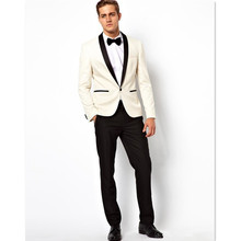2017 Men Suit Set Ivory Colour Blazer Regular Styles Jacket Pants Customized