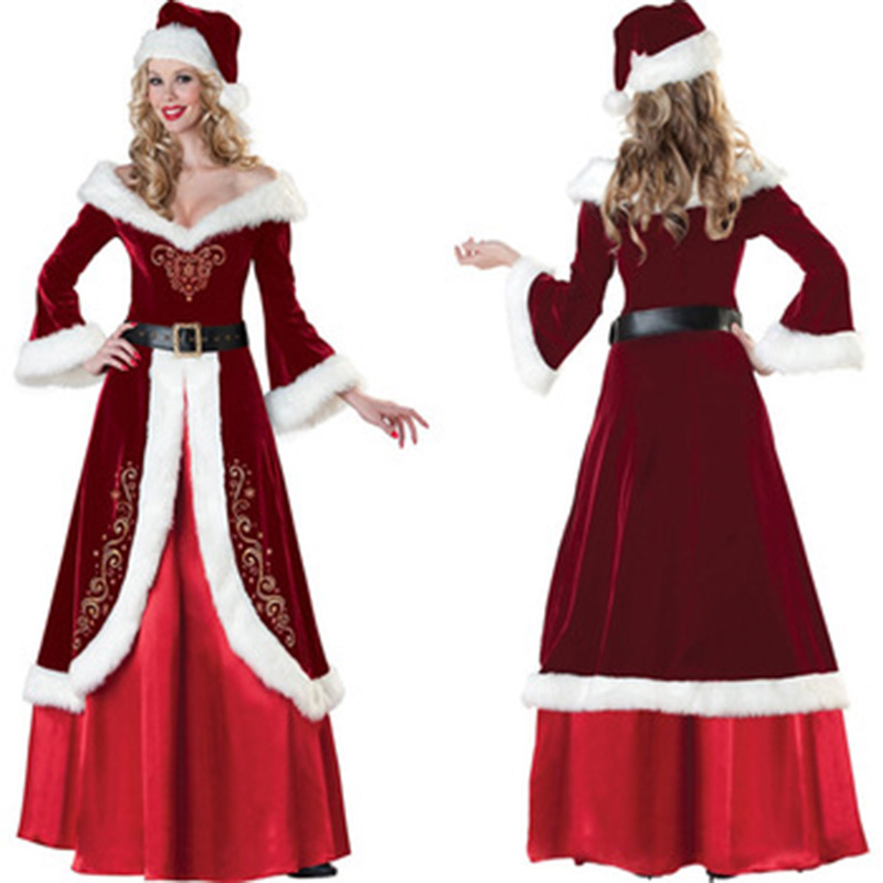 Wine Red Luxurious Christmas Queen Dress Sexy Warm Long Sleeve Robe Miss Santa Costume Halloween Santa Queen Cosplay Costume