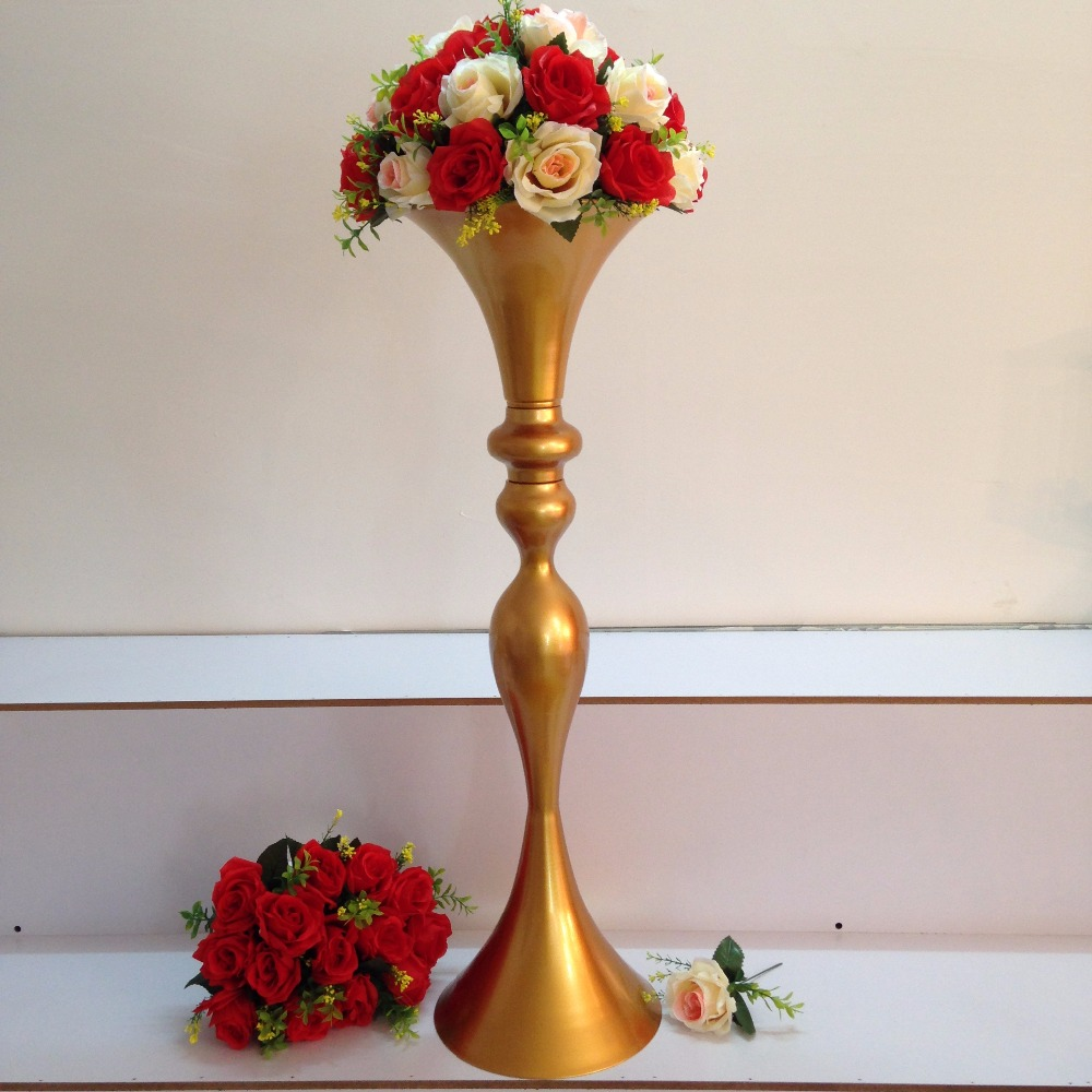 us $395.0  free shipping wholesale wedding supplies gold trumpet wedding  decoration table centerpieces wedding flower vase 8pcs/lot-in vases from  home
