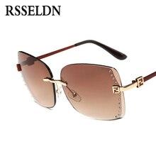 RSSELDN New Big Frame Women Sunglasses Fashion high Quality Gradient Women Rimless Sun glasses Female Brand 2017 Mirror UV400