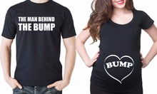 THE MAN BEHIND THE BUMP  Pregnancy Announcement Funny Matching Couple T Shirt
