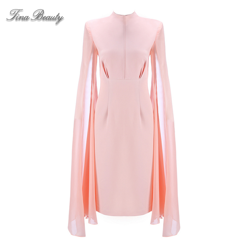 Long Flare Sleeve Formal Dresses 2018 Newest Summer Pink Gown Stand