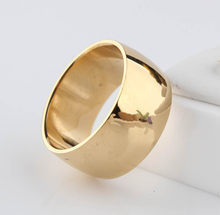12mm No fading 24k Classic Engage Wedding rings 1.2CM Yellow Gold Ring filled 316L Titanium steel rings for men and women(China)