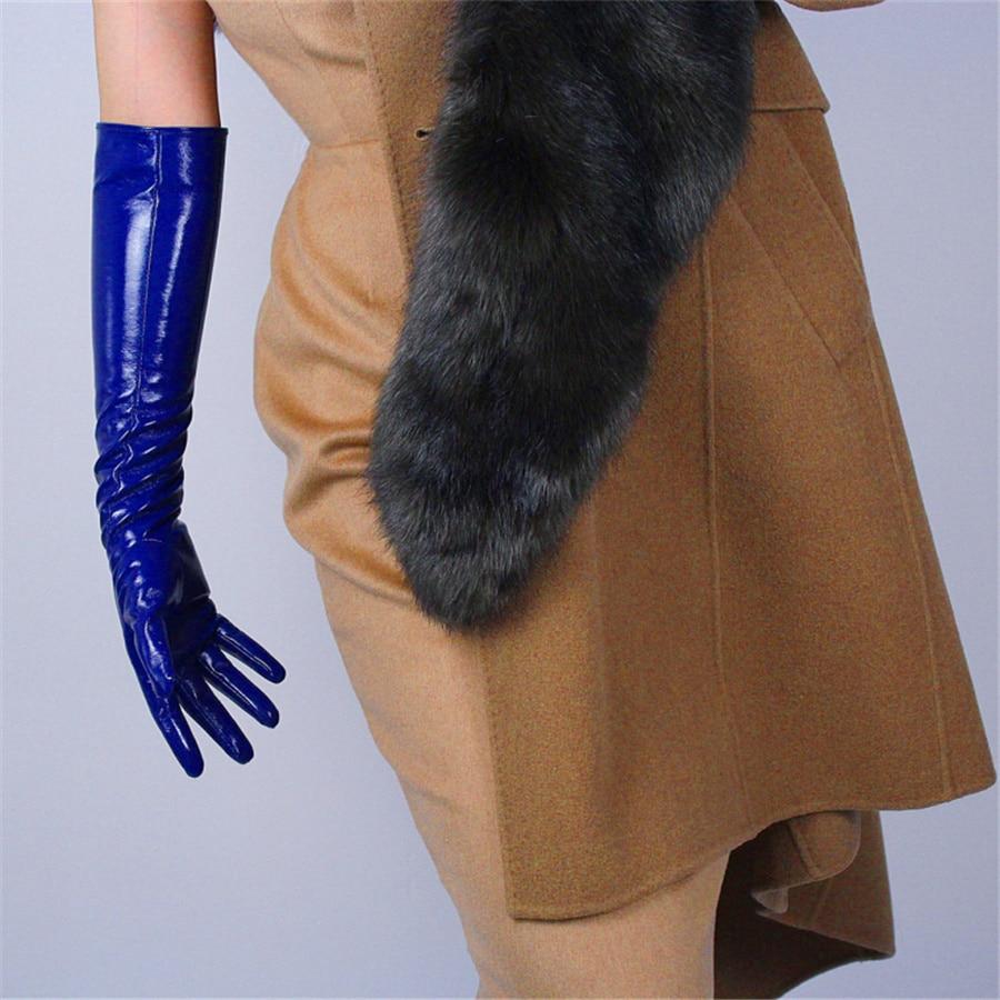 Patent Leather Long Gloves Simulation PU Mirror Bright Treasure Blue  50cm BL06