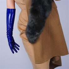 Patent Leather Long Gloves Simulation PU Mirror Bright Treasure Blue  50cm BL06