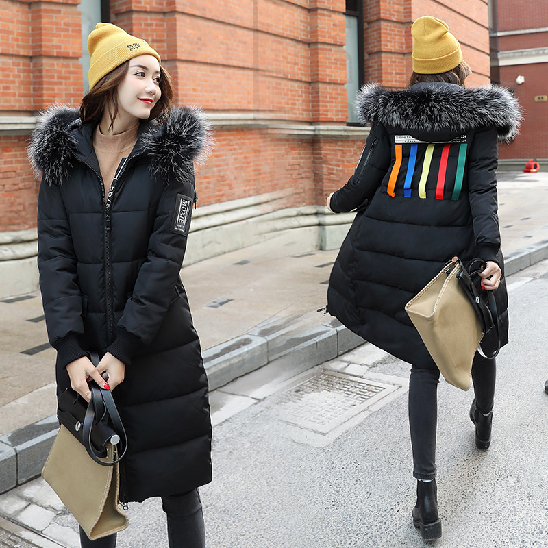 2017 Winter Women Parkas Slim Feathers Collar Female Cotton-padded Coats Jackets Long Thick Warm Hooded New Hot  LA1013B#16608 new collocation winter warm parkas hooded pockets zipper solid thick women coat slim long flare slim cotton padded lady jackets