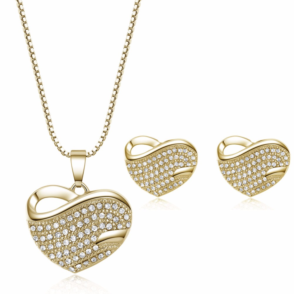 3pcs/Set Heart Design Jewelry Sets Earrings Pendientes Necklace Pandent Wedding Engagement Fully Zircon Women Girl Noble Gift