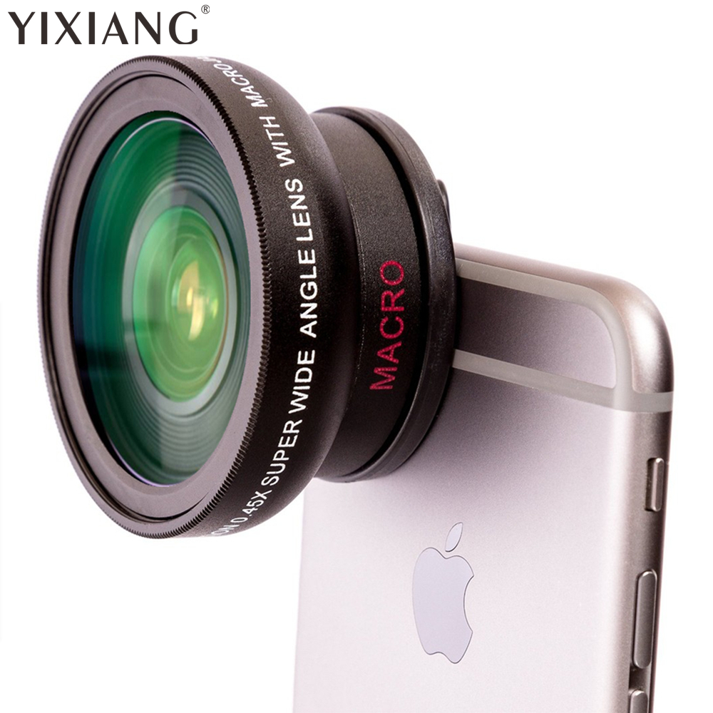 YIXIANG Nový HD 37MM 0,45x super širokoúhlý objektiv s 12,5x super makro objektivem pro iPhone 7 Plus 8 X Samsung S6 S8 Note 4 Camera
