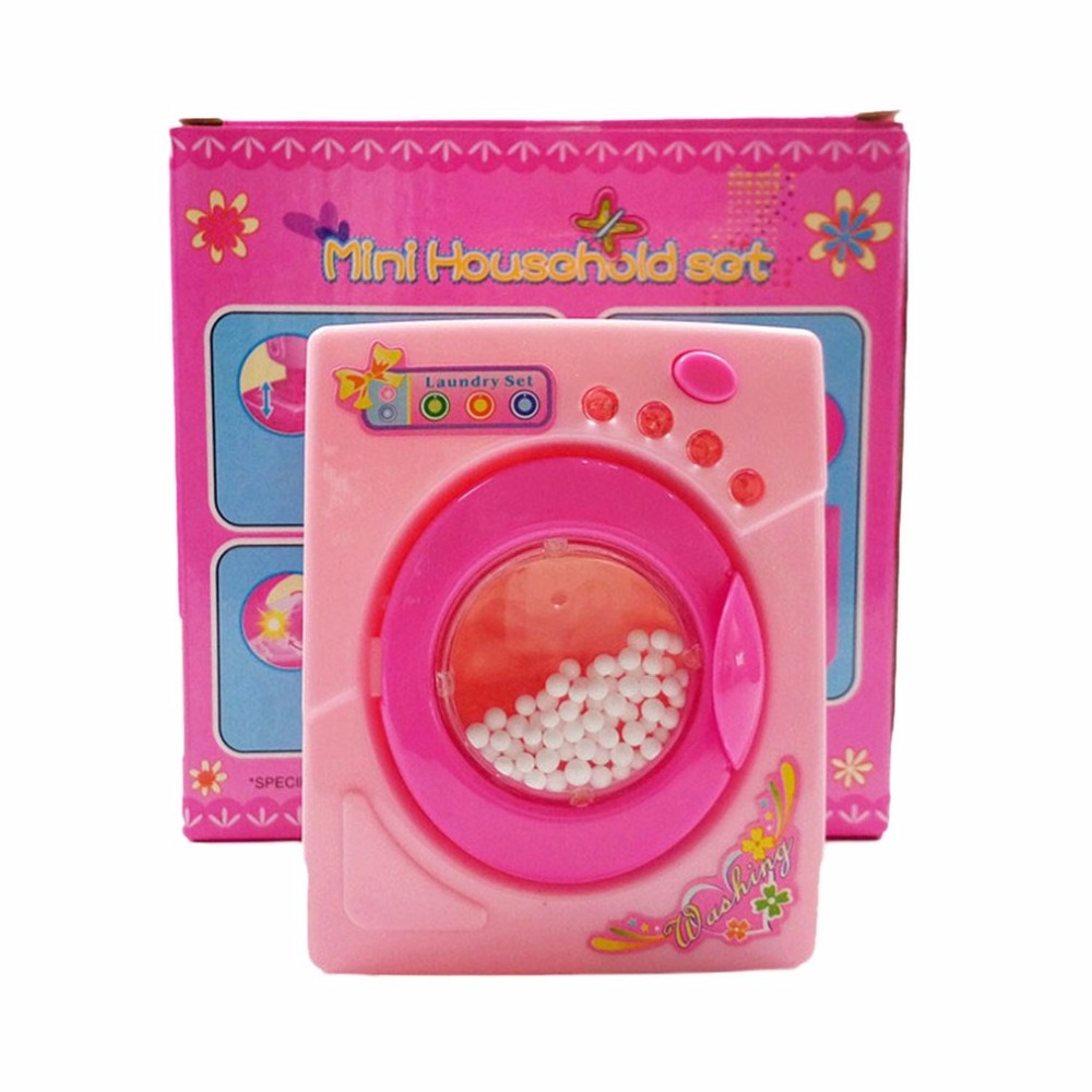 Children Washing Machine Toy  Simulation Toys Mini Electric Washing Machine  Miniature Furniture Pretend Play Toys For Kids Girl