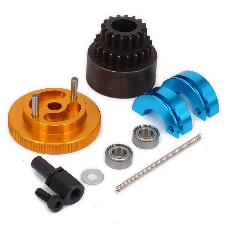 Metal Bell Shoes Springs Flywheel Bearings Axle 16T to 21T Two Speed Clutch Set For 1/10 Nitro RC Car HPI HSP Traxxas Axial 81020 clutch bell hsp 1 8th nitro car part 94081 94083