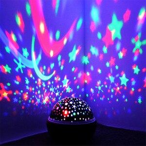 Image 3 - JUSOCCO proyector de luz nocturna giratoria para niños y bebés, lámpara de proyección Led USB romántica para dormir