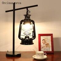 Американский стиль деревенский керосиновая лампа гостиная ночники Nordic промышленного ветер гладить светодиодный настольная лампа бесплат