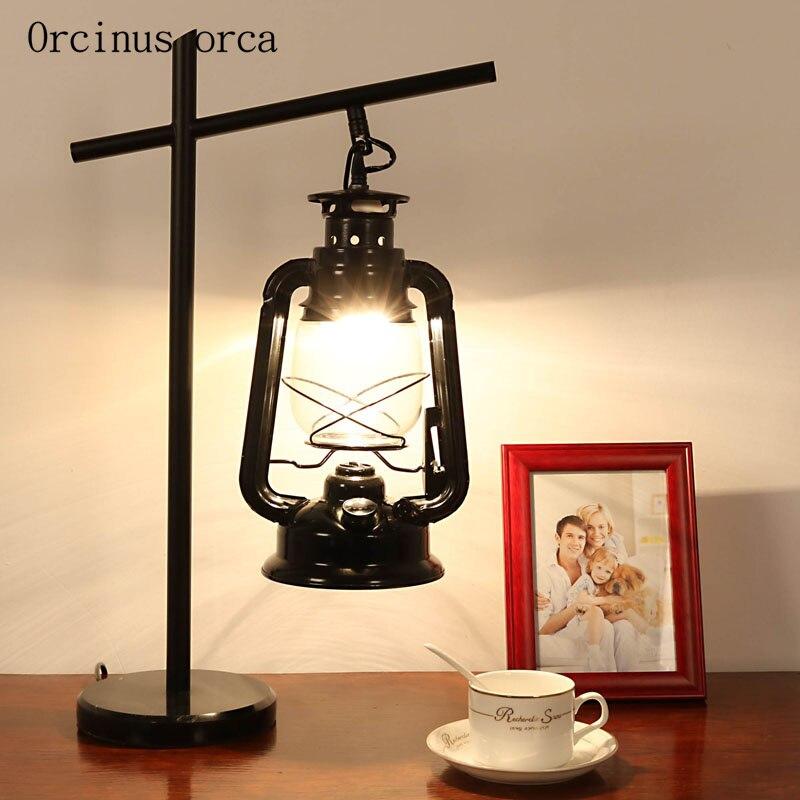 Американский стиль, деревенский керосиновый светильник для гостиной, прикроватная лампа, скандинавский промышленный ветровой Железный св