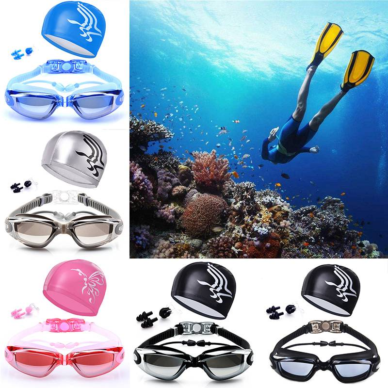 Waterproof HD Swimming Kit Anti-fog Swimming Goggles for Men/Women Frame Plating Goggles with Swimming Cap& Nose Clip & Earplugs