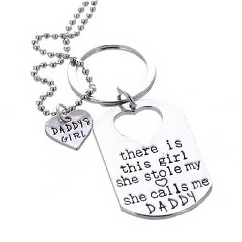 There's the Girl She Stole My Heart Daddy Daughter Keychain Necklace Set Fashion Jewelry Gifts Wholesale 1 Set
