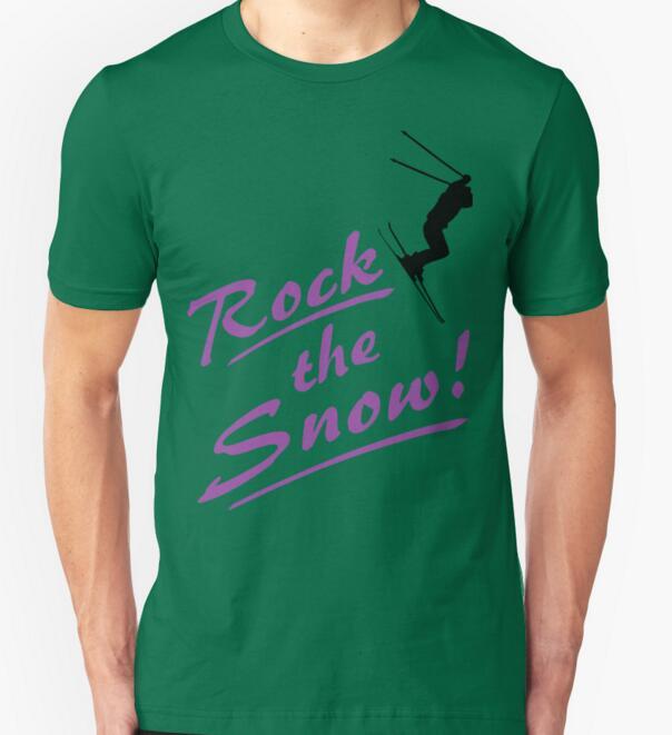 2016 Funny New Fashion Rock the Snow - Ski T-shirt 100% cotton sort sleeve T shirt O-neck Top Summer T Shirt Tee Plus Size