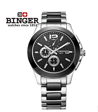 Brand Binger 2017 Luxury Men Automatic Watch Black 39MM Ceramic Bezel Watches 6 Needle Big Size Outdoor Army Wristwatch Freeship ultra luxury 2 3 5 modes german motor watch winder white color wooden black pu leater inside automatic watch winder