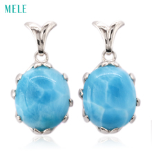 Natural larimar sterling silver earring, oval 12mm*14mm, deep blue color fashion  and brief womens earring