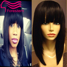 Virgin Brazilian Straight Full Lace Wig/Lace Front Wig Human Hair Wigs With Blunt Bangs Lace Front Wigs For Black Woman