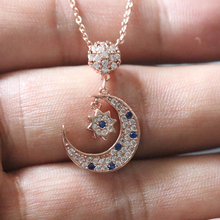 Collier Femme Titanium Steel Crescent Moon Star Pendant Necklaces For Women Collares Choker Bijoux Rose Gold Jewelry