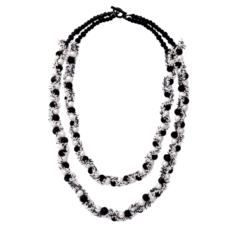2 Layers Imitation Pearl Pompon Ball Lace Statement Necklace