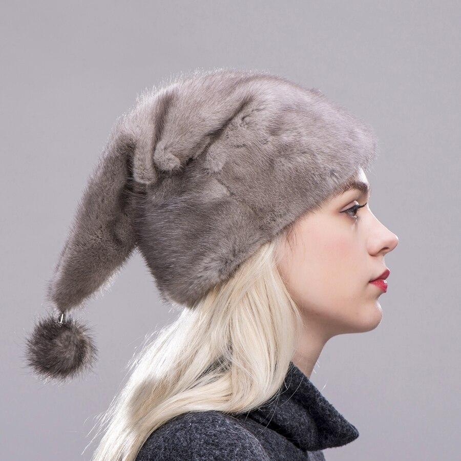 ZDFURS * Kerst hoed nertsen bont hele huid hoge kwaliteit bont caps met een nertsen bal hoeden vrouwen winter warm bescherming oor - 5