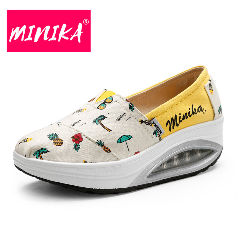 MINIKA 2017 Women Casual Shoes Slip-On Shallow Mouth Flats Shoes Fashion Durable Air Cushion Women Loafers Shoes High Quality 2017 summer new fashion sexy lace ladies flats shoes womens pointed toe shallow flats shoes black slip on casual loafers t033109