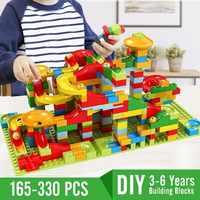165-330 blocos de construção compatíveis legoingly tijolos conjunto de mármore dos pces para crianças 3-6 anos crianças corrida bolas de labirinto