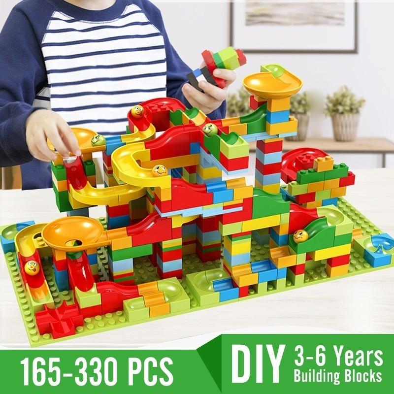 165-330 pces blocos de construção compatíveis legoingly tijolos conjunto duplo brinquedos para crianças 3-6 anos crianças corrida labirinto bolas