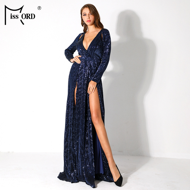 043e5381829 Missord 2019 Women Sexy Deep-V Long Sleeve High Split Dresses Female Sequin  Elegant Party Maxi Reflective Dress FT9707-3