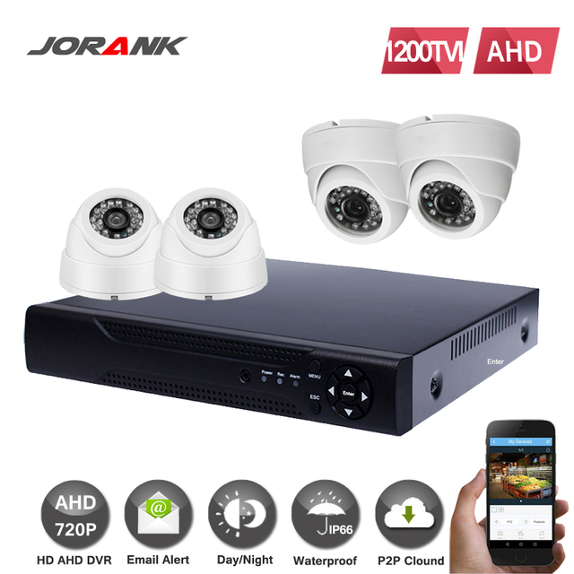 JORANK4CH AHD CCTV System 4 Channel DVR Surveillance Security Systems 1200TVL Dome Night Vision IR-CUT IR Camera DIY Kit
