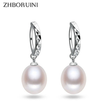 2015 Fashion Pearl Earrings 100% Real Natural Freshwater Pearl 925 Sterling Silver 8-9mm Water Drop Earrings Jewelry For Woman недорого