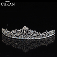 CHRAN Vintage Style Rhodium Plated Women Wedding Hair Jewelry Tiaras Elegant Brand Crystal Headband Flower Princess Crown