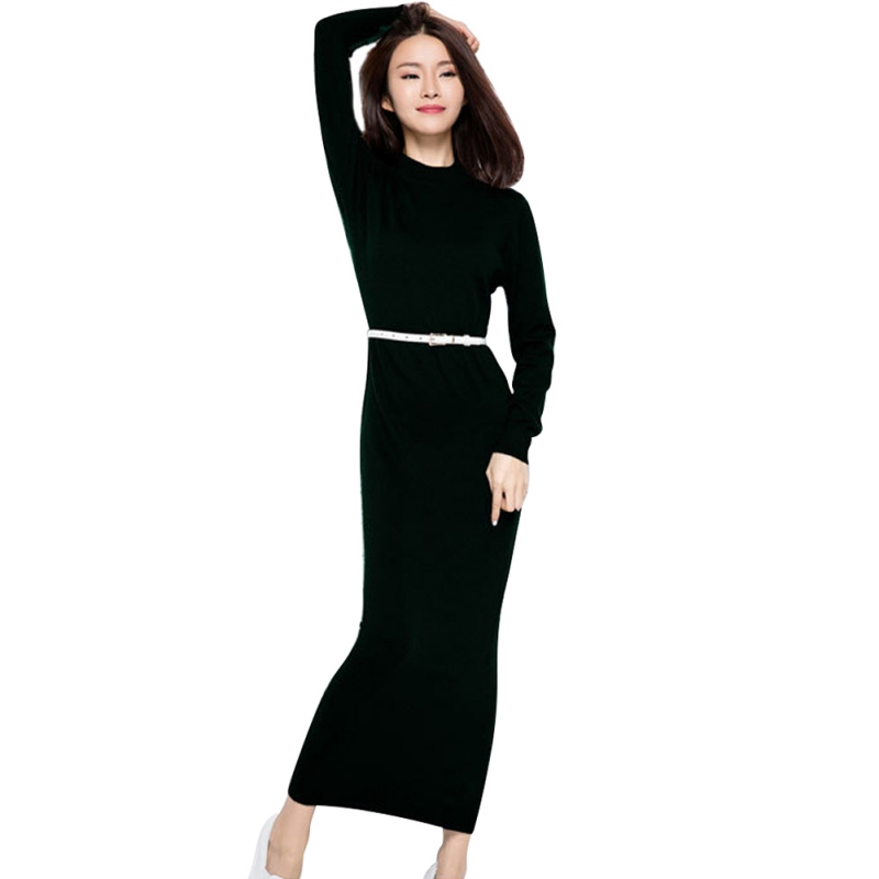 Fashion Knitted Dress Women Long Sleeve Bodycon Stretch Sweater Dress Casual Party Autumn Winter wool sweater dress sweater long sleeve bodycon dress with slits