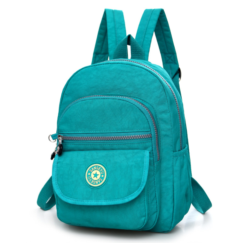 Повседневное женский рюкзак с защитой от краж с простой твердой колледж Стиль школьная сумка Мода Дорожная сумка для путешествий - Цвет: Lake green