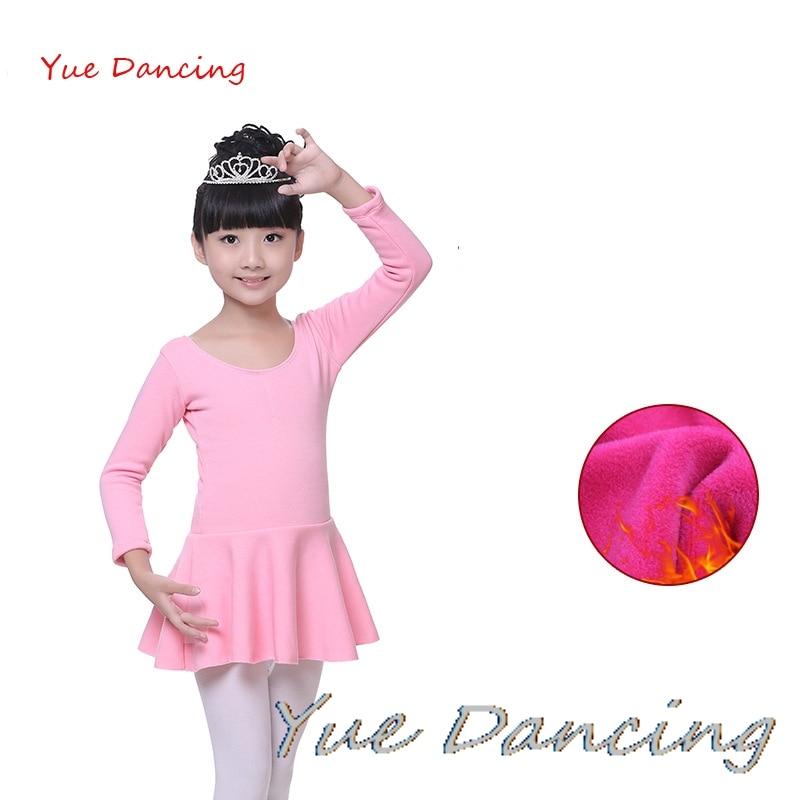 Winter Plus Velvet Long Sleeves Practice/Exam Ballet Clothes Child Girls Cotton Gymnastics Leotard Girls Ballet Dress For Dance