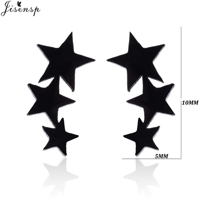 Jisensp геометрические черные серьги из нержавеющей стали женские минималистичные ювелирные изделия маленькие Микки Звезда Луна гвоздики подарки на день рождения серьги