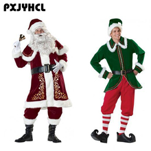 2 Style Christmas Santa Claus Cosplay Costume For Men Adult Fancy Clothing Set Green Holiday Elf Santa Claus Helper Costume